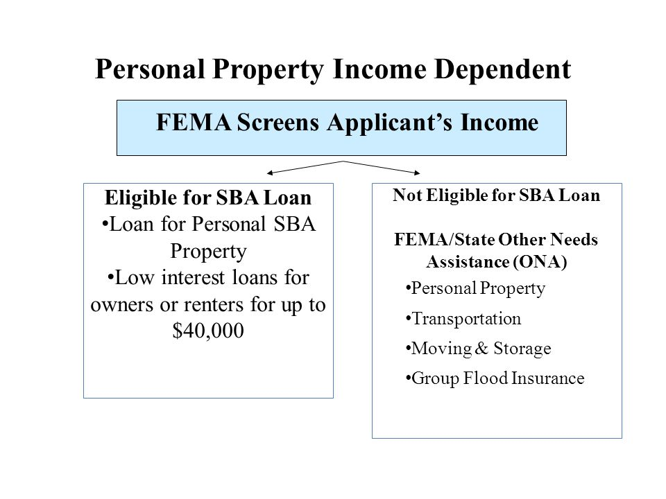 FEMA/State Other Needs Assistance (ONA) Not Income Dependent Medical Expenses Dental Expenses Funeral Expenses Other Disaster Created Needs