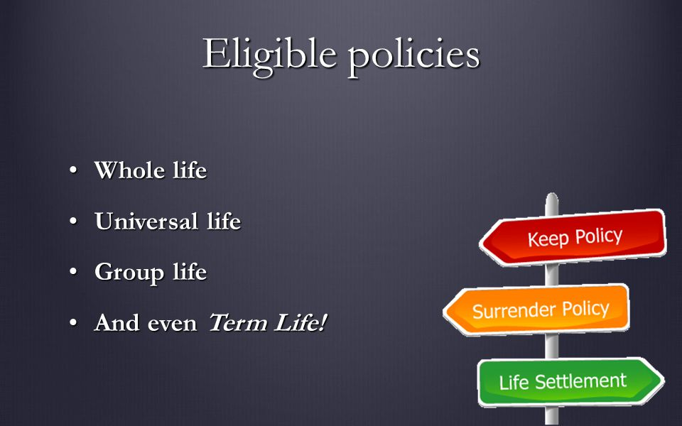 Eligible policies Whole lifeWhole life Universal lifeUniversal life Group lifeGroup life And even Term Life!And even Term Life!