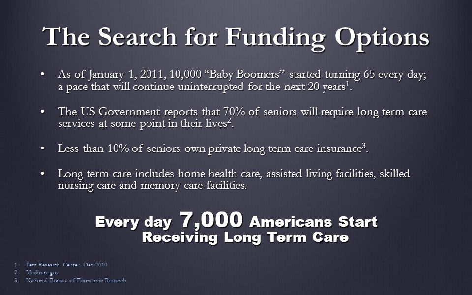 The Search for Funding Options As of January 1, 2011, 10,000 Baby Boomers started turning 65 every day; a pace that will continue uninterrupted for the next 20 years 1.As of January 1, 2011, 10,000 Baby Boomers started turning 65 every day; a pace that will continue uninterrupted for the next 20 years 1.