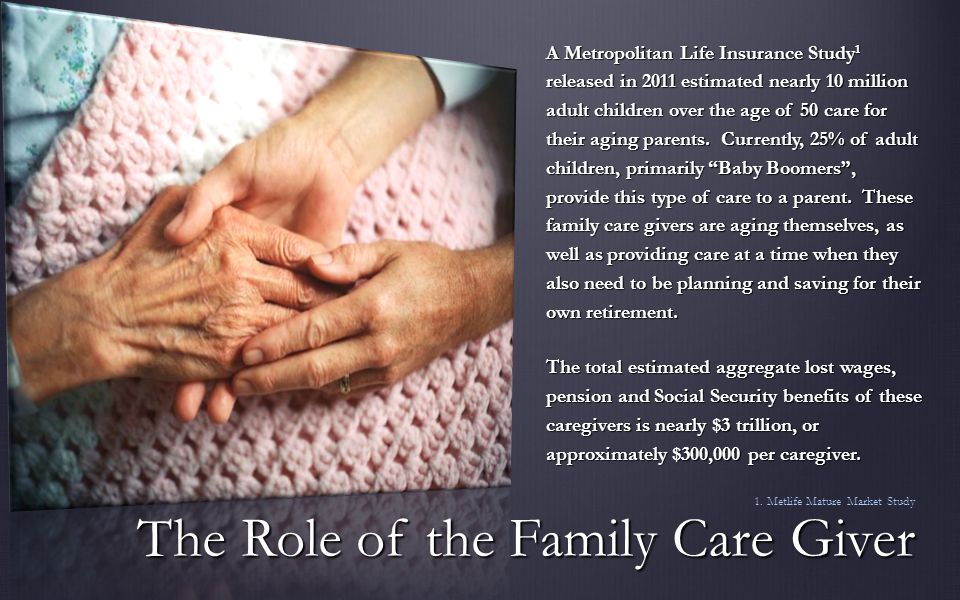 A Metropolitan Life Insurance Study 1 released in 2011 estimated nearly 10 million adult children over the age of 50 care for their aging parents.