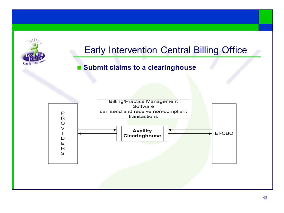 12 Early Intervention Central Billing Office Submit claims to a clearinghouse