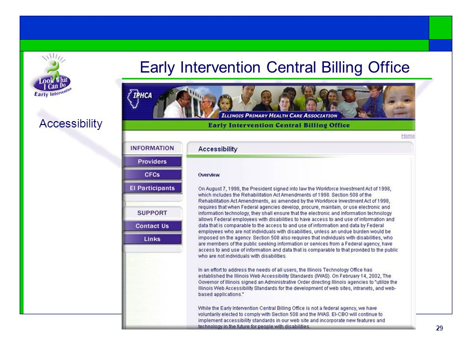 29 Early Intervention Central Billing Office Accessibility