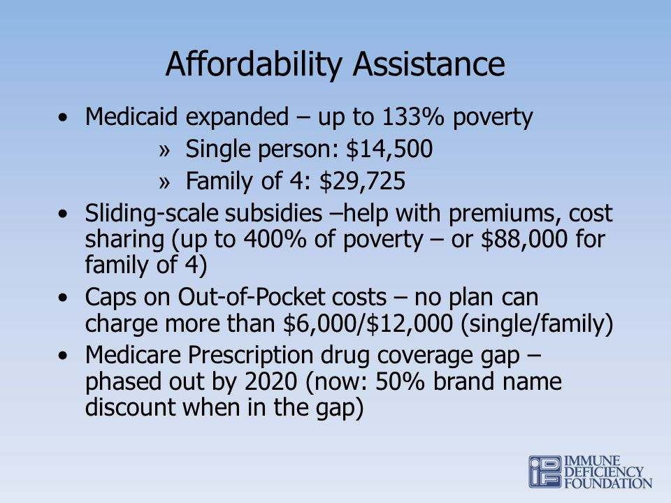 Affordability Assistance Medicaid expanded – up to 133% poverty » Single person: $14,500 » Family of 4: $29,725 Sliding-scale subsidies –help with pre