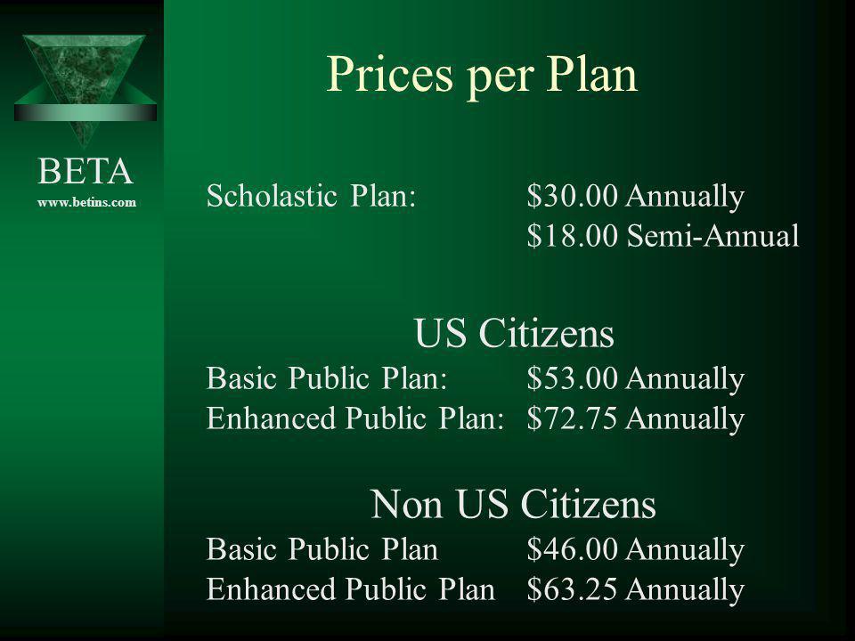 BETA www.betins.com Prices per Plan Scholastic Plan:$30.00 Annually $18.00 Semi-Annual US Citizens Basic Public Plan: $53.00 Annually Enhanced Public