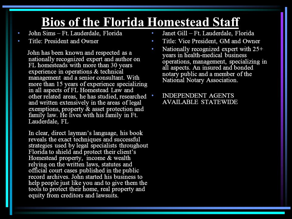 Bios of the Florida Homestead Staff John Sims – Ft.