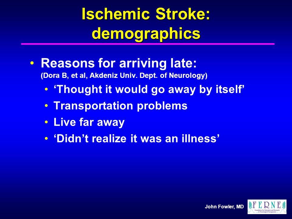 John Fowler, MD Ischemic Stroke: demographics Reasons for arriving late: (Dora B, et al, Akdeniz Univ. Dept. of Neurology) Thought it would go away by