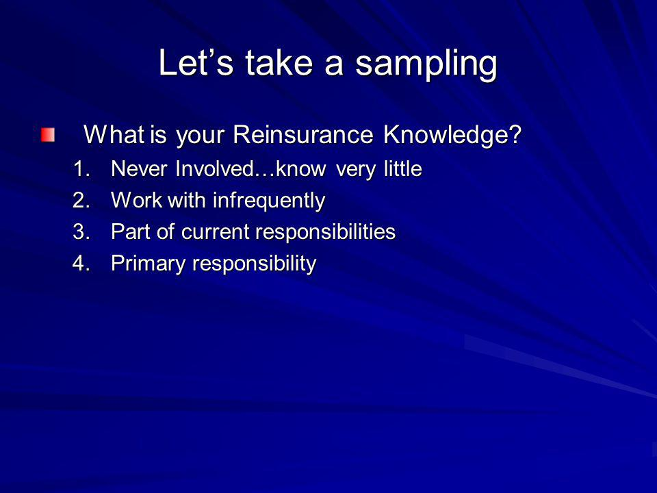 Lets take a sampling What is your Reinsurance Knowledge.
