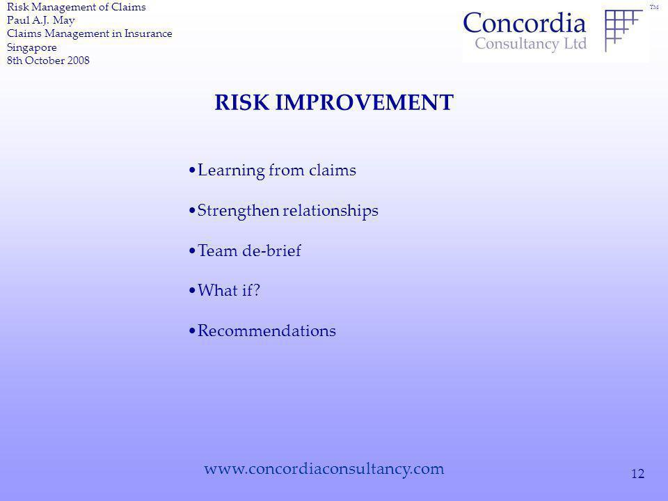 TM www.concordiaconsultancy.com 12 RISK IMPROVEMENT Risk Management of Claims Paul A.J.