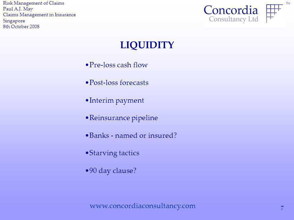 TM www.concordiaconsultancy.com 7 LIQUIDITY Risk Management of Claims Paul A.J.