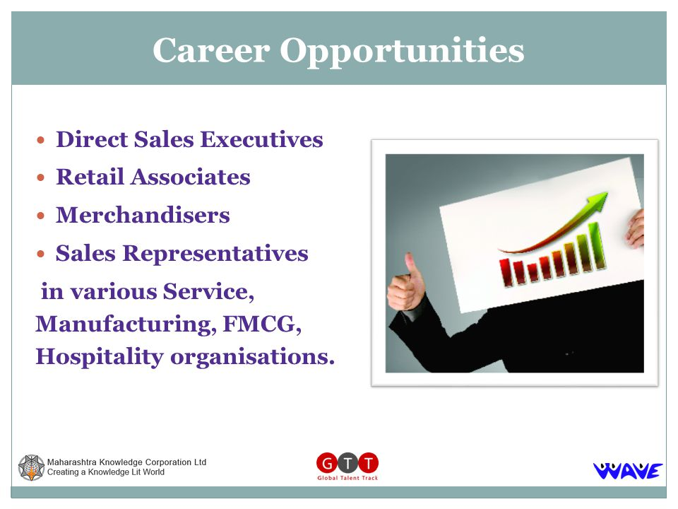 Direct Sales Executives Retail Associates Merchandisers Sales Representatives in various Service, Manufacturing, FMCG, Hospitality organisations.