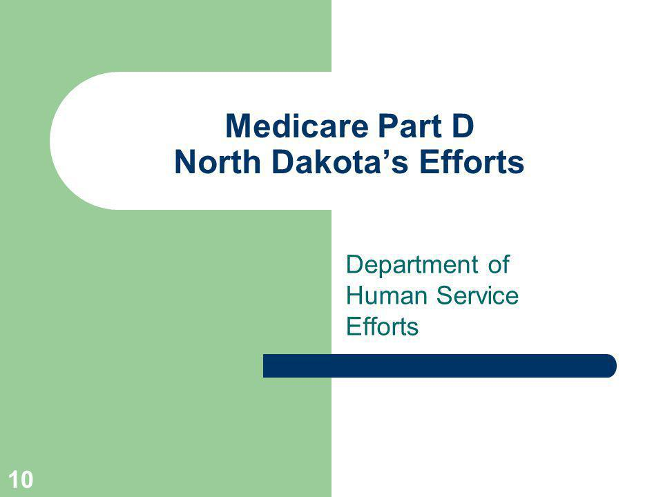 10 Medicare Part D North Dakotas Efforts Department of Human Service Efforts