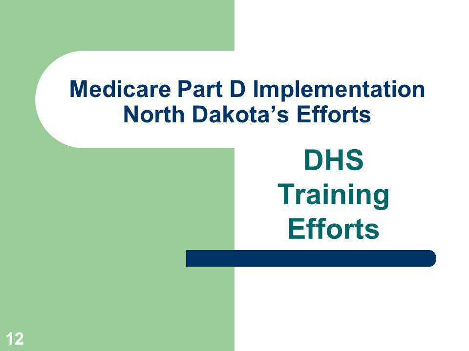 12 Medicare Part D Implementation North Dakotas Efforts DHS Training Efforts