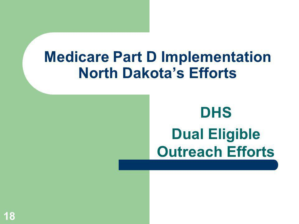 18 Medicare Part D Implementation North Dakotas Efforts DHS Dual Eligible Outreach Efforts