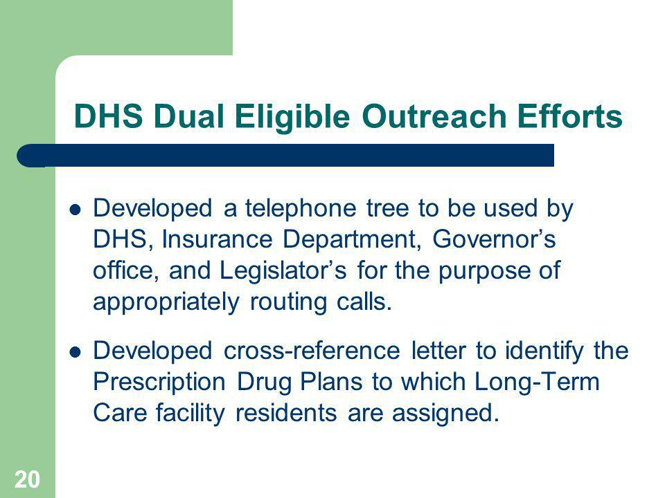 20 DHS Dual Eligible Outreach Efforts Developed a telephone tree to be used by DHS, Insurance Department, Governors office, and Legislators for the purpose of appropriately routing calls.