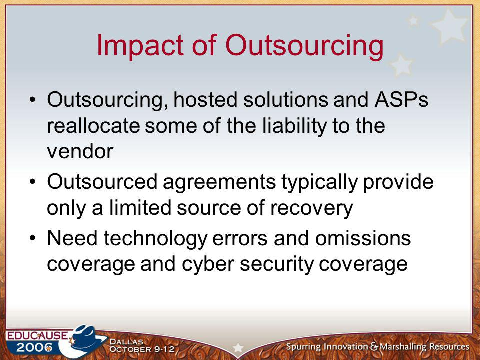 Impact of Outsourcing Outsourcing, hosted solutions and ASPs reallocate some of the liability to the vendor Outsourced agreements typically provide on
