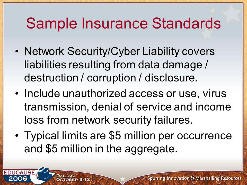 Sample Insurance Standards Network Security/Cyber Liability covers liabilities resulting from data damage / destruction / corruption / disclosure. Inc
