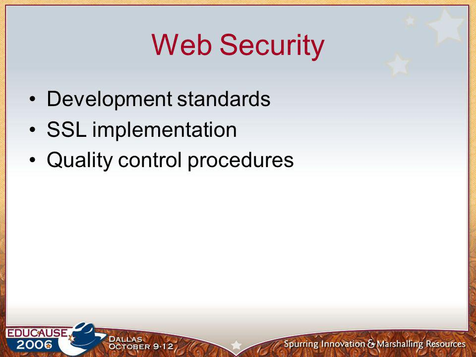 Web Security Development standards SSL implementation Quality control procedures