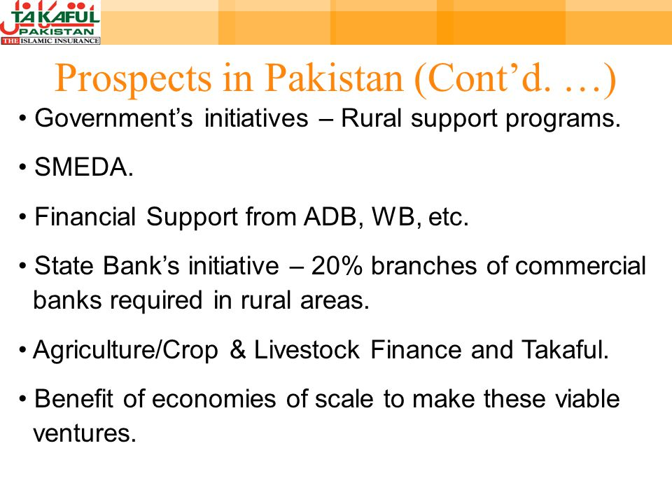 Prospects in Pakistan (Contd. …) Governments initiatives – Rural support programs.
