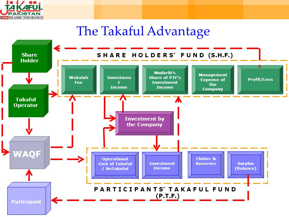 Investment Income Operational Cost of Takaful / ReTakaful Claims & ReservesSurplus (Balance) P A R T I C I P A N T S T A K A F U L F U N D (P.T.F.) Mudaribs Share of PTFs Investment Income Wakalah Fee Investmen t Income Management Expense of the Company Profit/Loss S H A R E H O L D E R S F U N D (S.H.F.) Participant WAQF Takaful Operator Share Holder Investment by the Company The Takaful Advantage