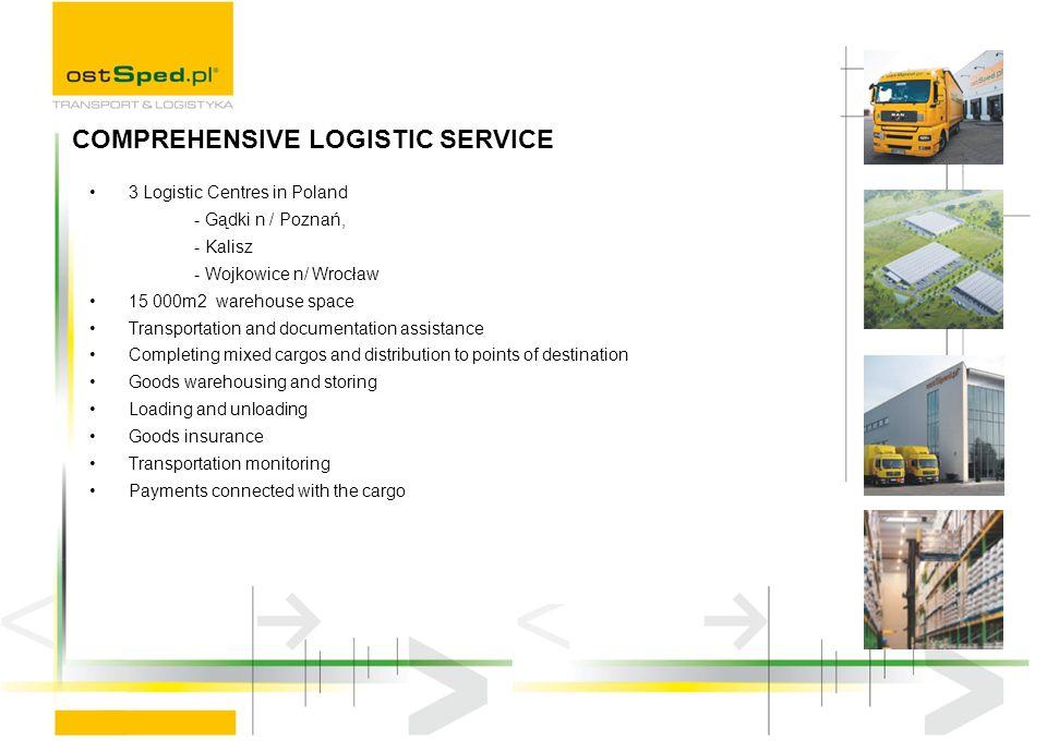 3 Logistic Centres in Poland - Gądki n / Poznań, - Kalisz - Wojkowice n/ Wrocław 15 000m2 warehouse space Transportation and documentation assistance