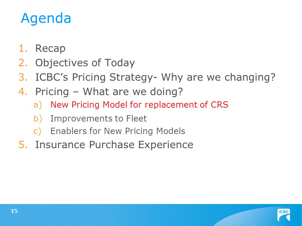 1.Recap 2.Objectives of Today 3.ICBCs Pricing Strategy- Why are we changing? 4.Pricing – What are we doing? a)New Pricing Model for replacement of CRS