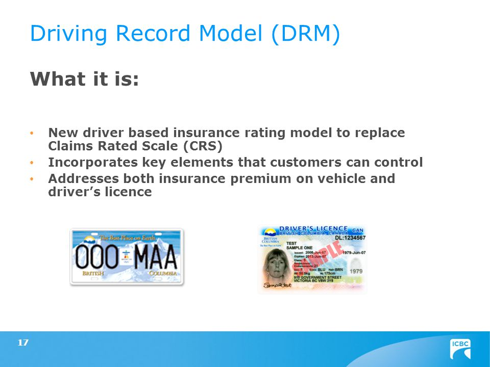 17 What it is: New driver based insurance rating model to replace Claims Rated Scale (CRS) Incorporates key elements that customers can control Addres