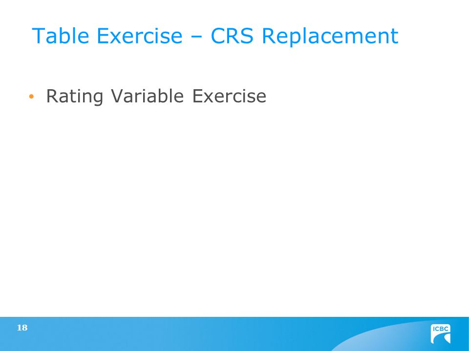 Rating Variable Exercise 18 Table Exercise – CRS Replacement