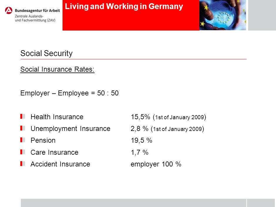 Living and Working in Germany Social Security Social Insurance Rates: Employer – Employee = 50 : 50 Health Insurance15,5% ( 1st of January 2009 ) Unemployment Insurance2,8 % ( 1st of January 2009 ) Pension19,5 % Care Insurance1,7 % Accident Insuranceemployer 100 %