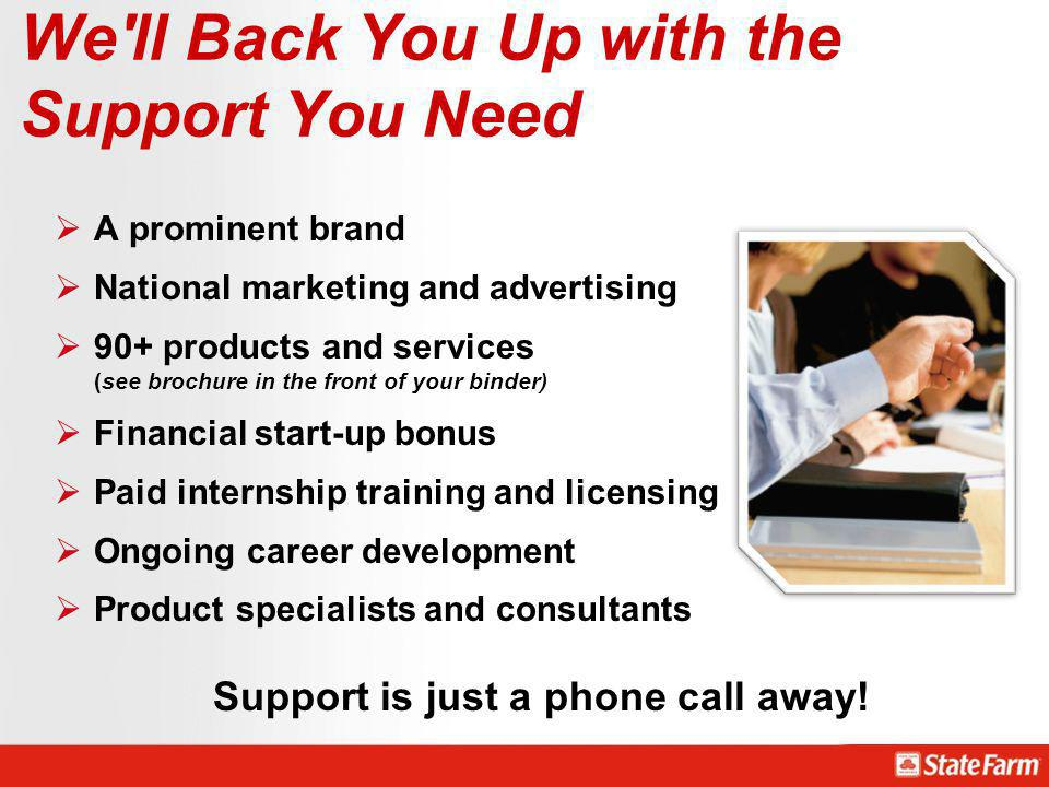 We'll Back You Up with the Support You Need A prominent brand National marketing and advertising 90+ products and services (see brochure in the front