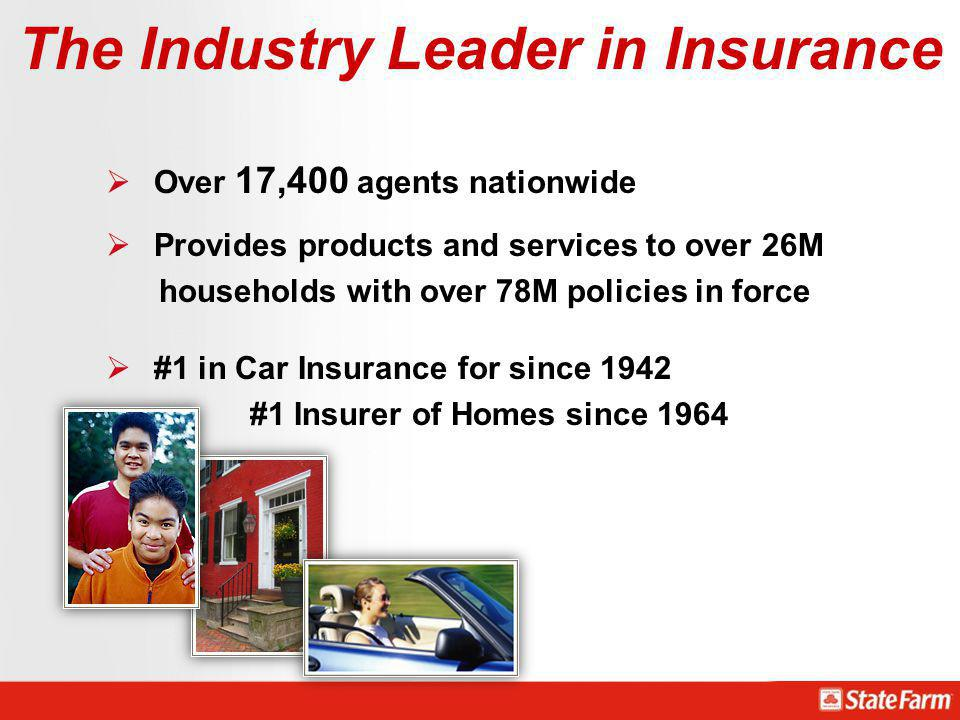 The Industry Leader in Insurance Over 17,400 agents nationwide Provides products and services to over 26M households with over 78M policies in force #