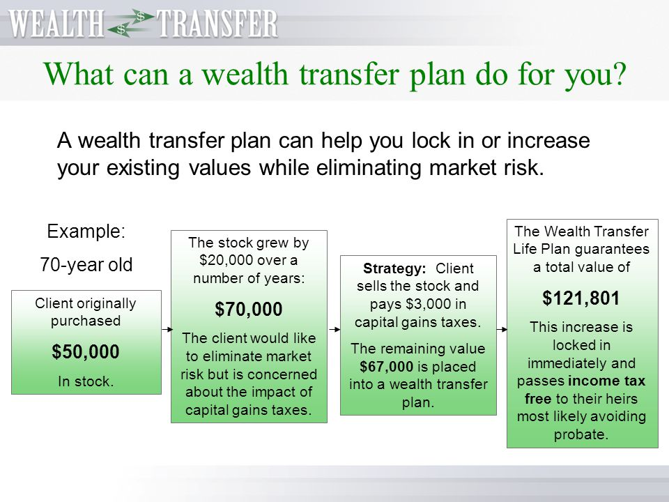 What can a wealth transfer plan do for you? A wealth transfer plan can give you a significant head start on what you will leave to your heirs. Immedia