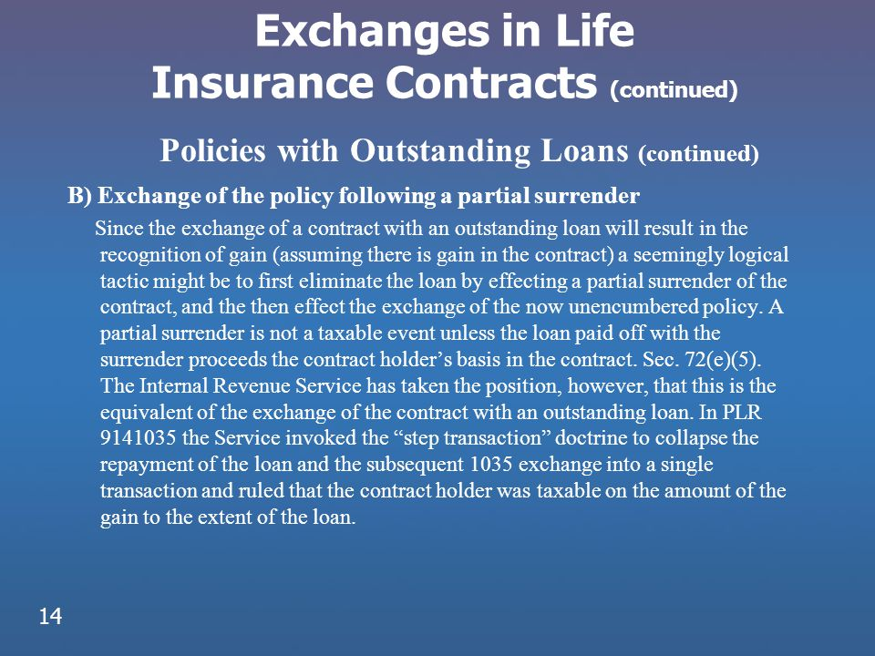 Exchanges in Life Insurance Contracts (continued) B) Exchange of the policy following a partial surrender Since the exchange of a contract with an out
