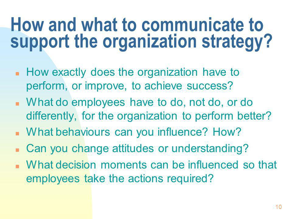 10 How and what to communicate to support the organization strategy.