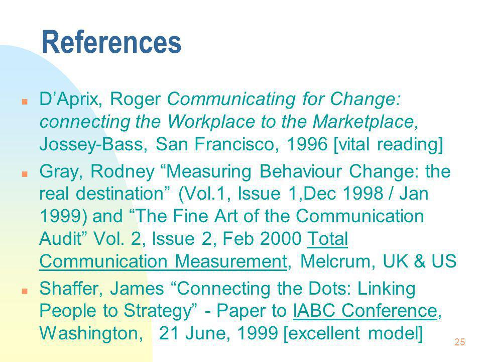 25 References n DAprix, Roger Communicating for Change: connecting the Workplace to the Marketplace, Jossey-Bass, San Francisco, 1996 [vital reading] n Gray, Rodney Measuring Behaviour Change: the real destination (Vol.1, Issue 1,Dec 1998 / Jan 1999) and The Fine Art of the Communication Audit Vol.