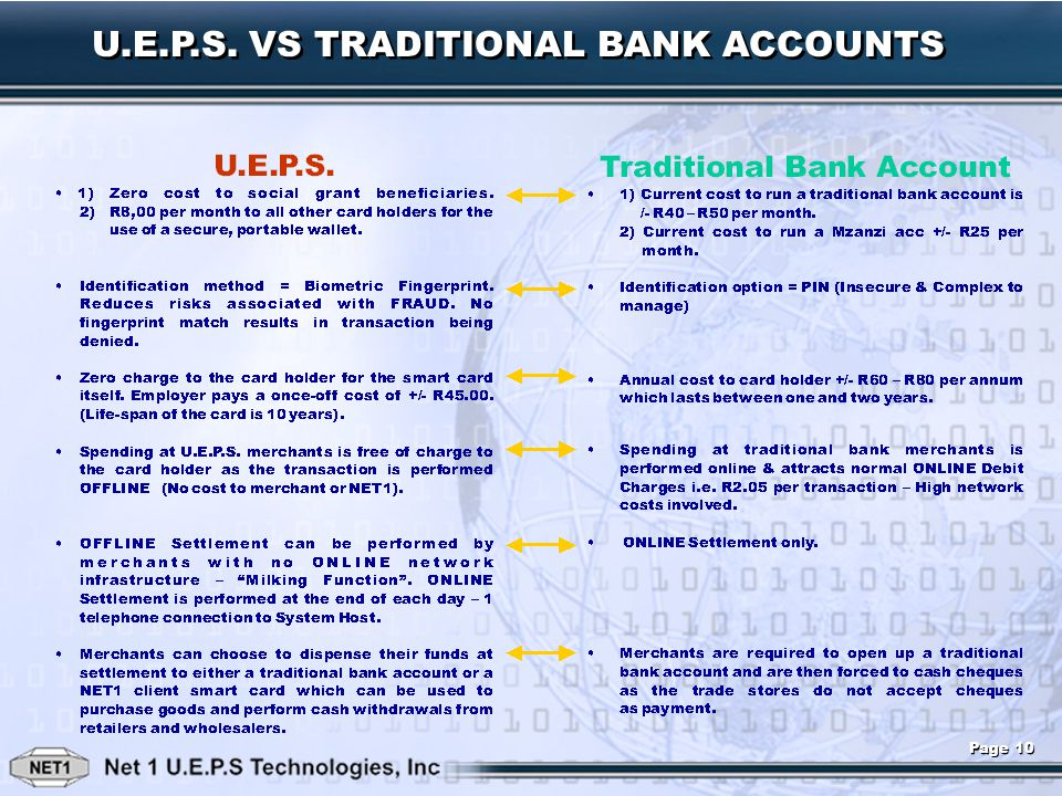 U.E.P.S. VS TRADITIONAL BANK ACCOUNTS Page 10