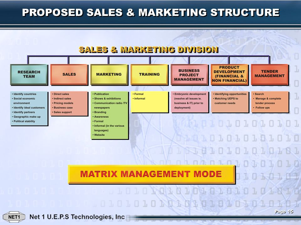 PROPOSED SALES & MARKETING STRUCTURE Page 15