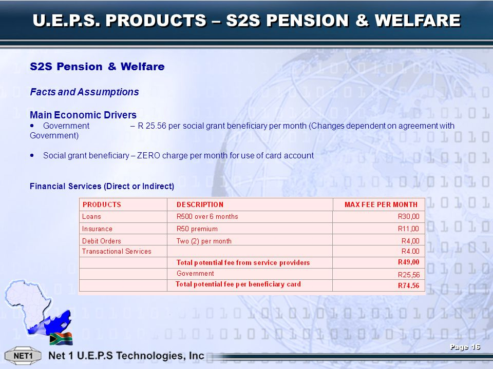 U.E.P.S. PRODUCTS – S2S PENSION & WELFARE S2S Pension & Welfare Facts and Assumptions Main Economic Drivers Government – R 25.56 per social grant bene