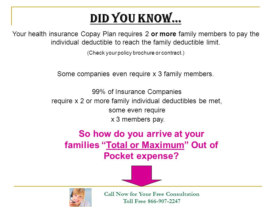 Did you Know… Your health insurance Copay Plan requires 2 or more family members to pay the individual deductible to reach the family deductible limit
