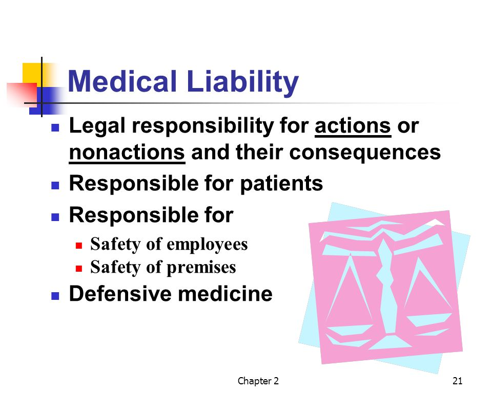 Chapter 221 Medical Liability Legal responsibility for actions or nonactions and their consequences Responsible for patients Responsible for Safety of