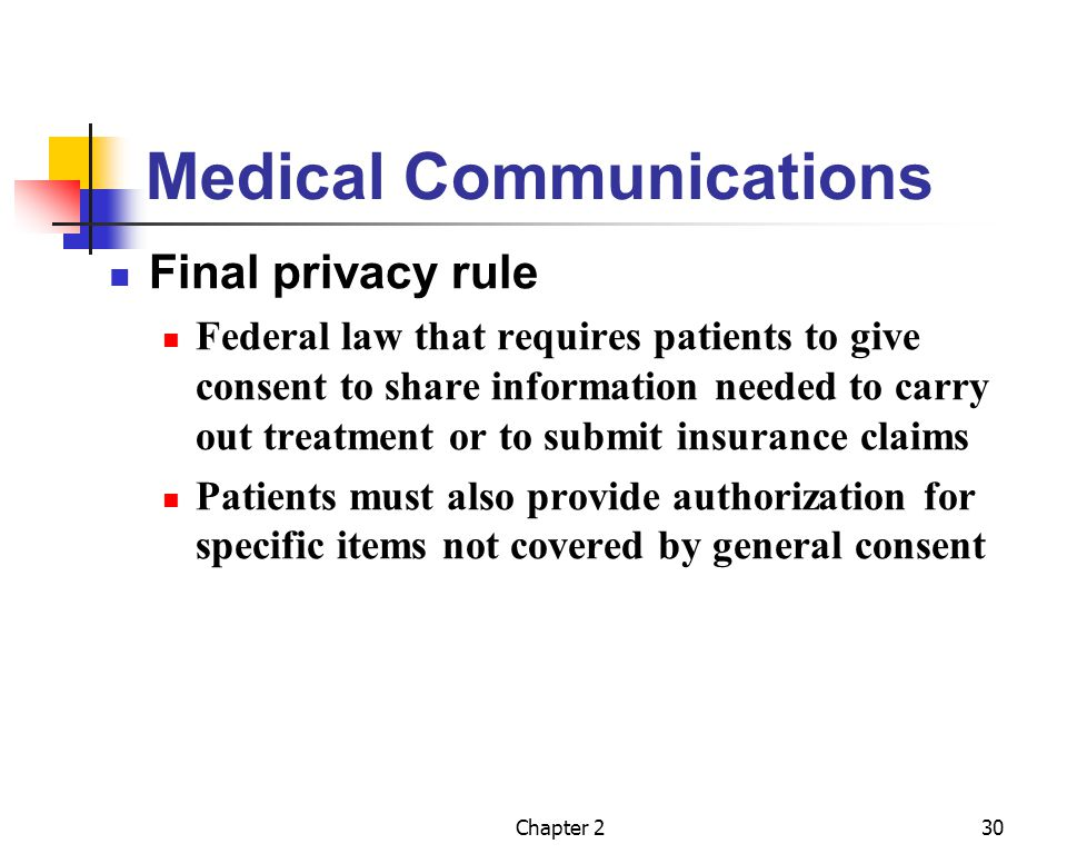Chapter 230 Medical Communications Final privacy rule Federal law that requires patients to give consent to share information needed to carry out trea