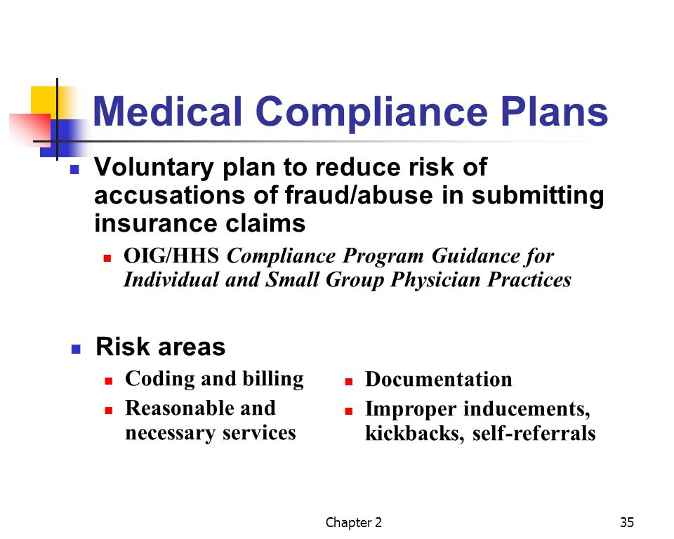Chapter 235 Medical Compliance Plans Voluntary plan to reduce risk of accusations of fraud/abuse in submitting insurance claims OIG/HHS Compliance Pro