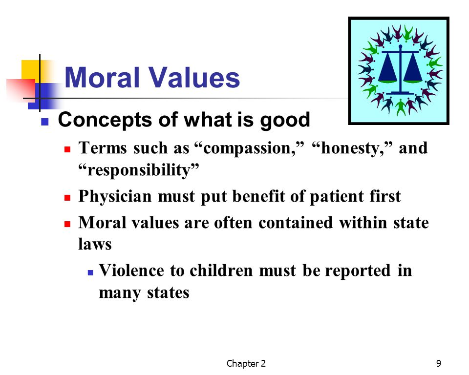 Chapter 29 Moral Values Concepts of what is good Terms such as compassion, honesty, and responsibility Physician must put benefit of patient first Mor