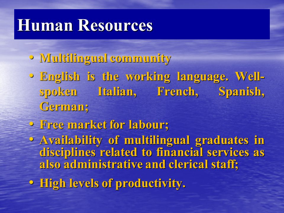 Human Resources Multilingual community Multilingual community English is the working language.