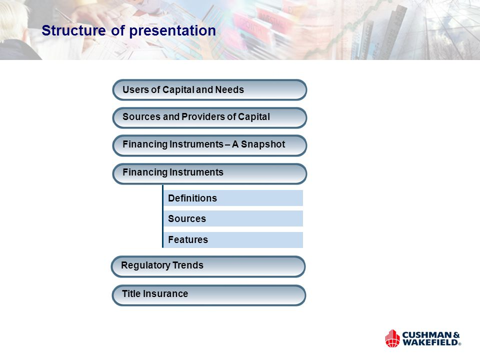 Structure of presentation Users of Capital and Needs Sources and Providers of Capital Financing Instruments – A Snapshot Definitions Sources Features