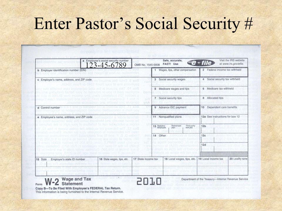 Preparing a W-2 for Pastors