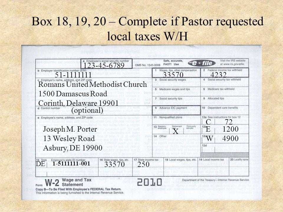 51-1111111 123-45-6789 Romans United Methodist Church 1500 Damascus Road Corinth, Delaware 19901 (optional) Joseph M.