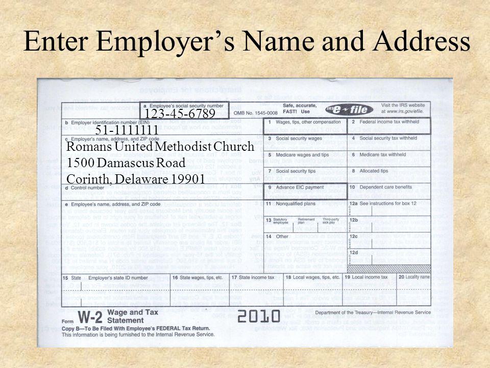 Enter Employers E.I.N. # 51-1111111 123-45-6789