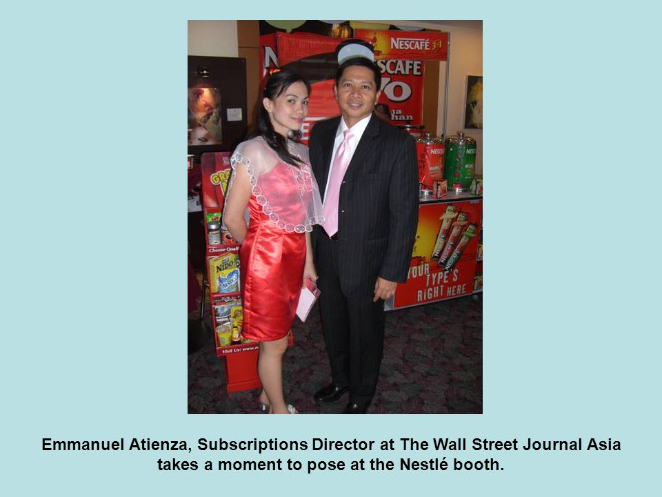 Emmanuel Atienza, Subscriptions Director at The Wall Street Journal Asia takes a moment to pose at the Nestlé booth.