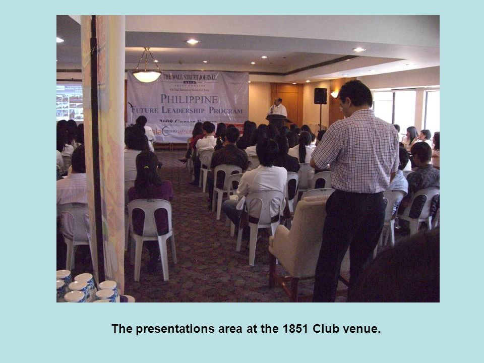 The presentations area at the 1851 Club venue.