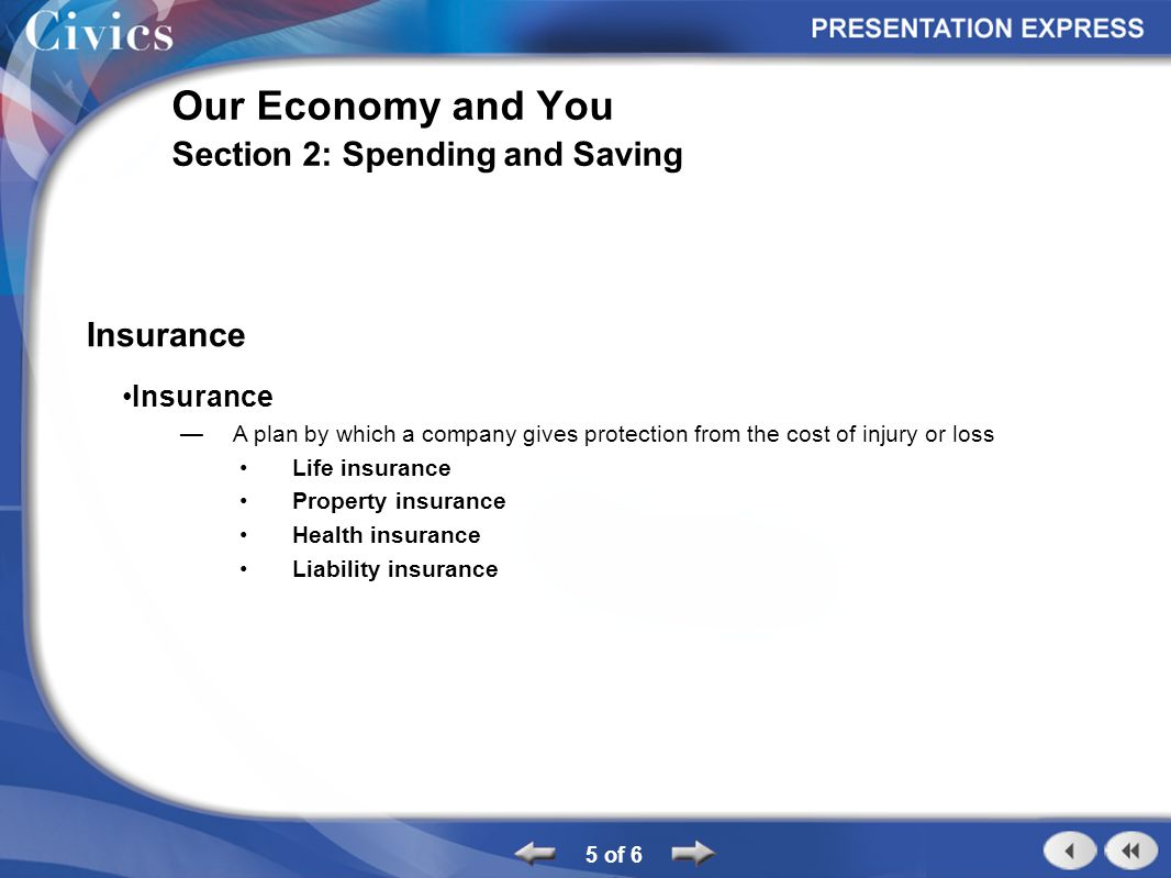 5 of 6 Our Economy and You Section 2: Spending and Saving Insurance A plan by which a company gives protection from the cost of injury or loss Life in